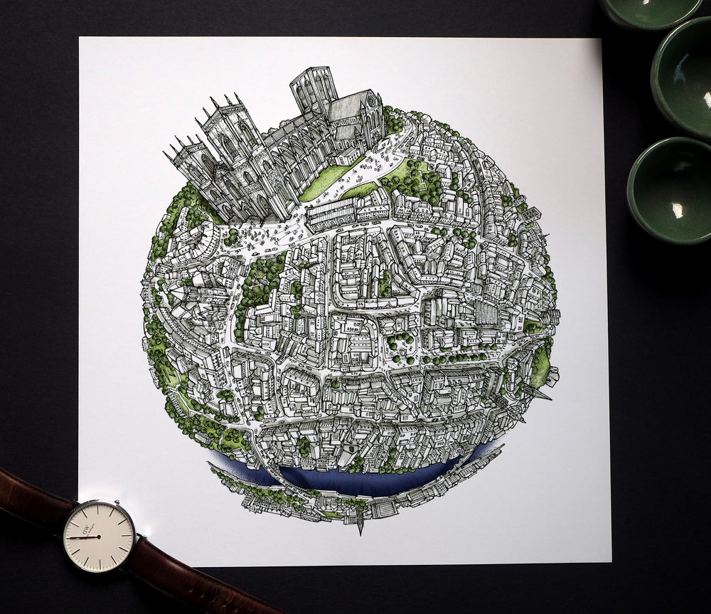 Staves Art - The York Globe (2020) Hand Drawn City Map Art