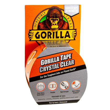Gorilla Tape Crystal Clear Repair 48 mm x 8.2 m, Klebeband, Klarsicht-Reparaturband