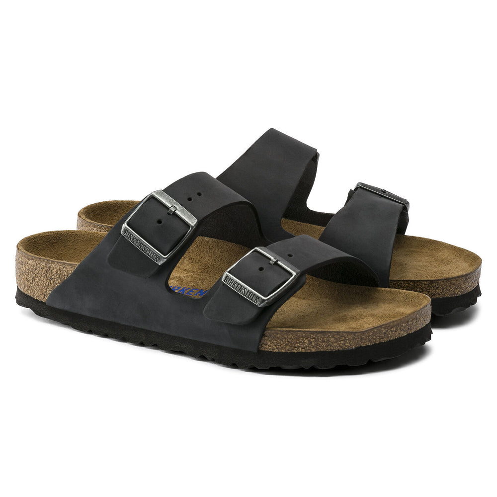 Brikenstock Arizona BS Waxy Leather, Regular Fit Flip Flops, Black
