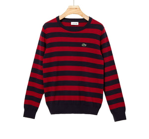 Lacoste Kids AJ8083 Crew Neck Striped Cashmere & Cotton Knitted Jumper