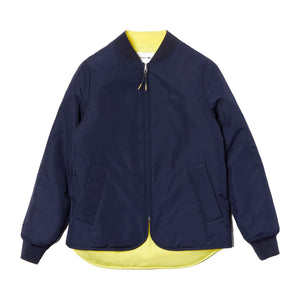 Lacoste Womens BF8346 Seamlessly Quilted Reversible Bi-Material Rain Jacket, Navy Blue/Yellow 4NS