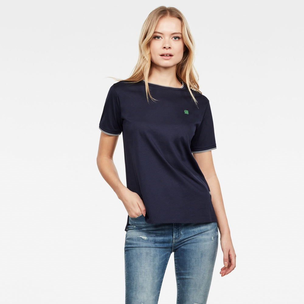 Load image into Gallery viewer, G-Star Raw Womens Gyre Ringer S/S T-Shirt, Sartho Blue