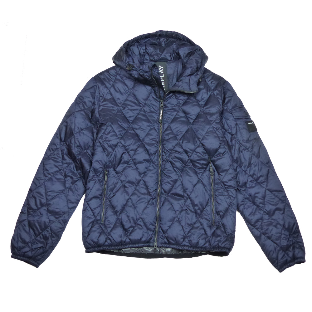 Replay M8001 Hooded Padded Jacket, Navy Blue