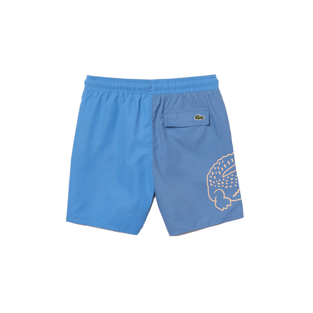 Lacoste MJ0311 Boys' Bicolour Crocodile Print Swimming Trunks