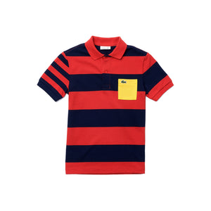 Load image into Gallery viewer, Lacoste PJ0270 Boys Coloured Pocket Striped Piqué Polo Shirt