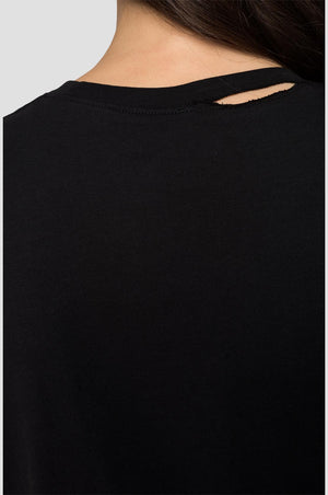 Replay Womens W3217D Glitter Frame Logo Crew Neck T-Shirt, Black