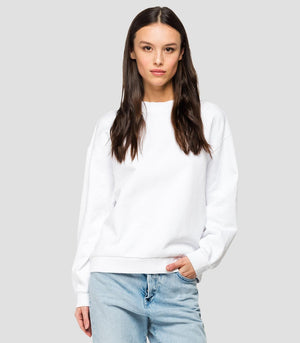 Replay W3269c Basic Crew Neck Sweatshirt with REPLAY floral embroidery, White