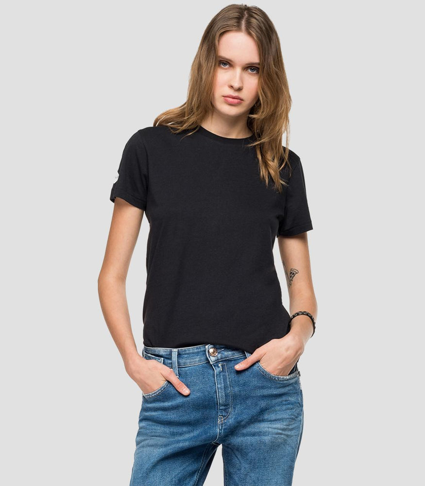 Replay Womens W3310B Glitter Side Stripe Crew Neck T-Shirt, Black