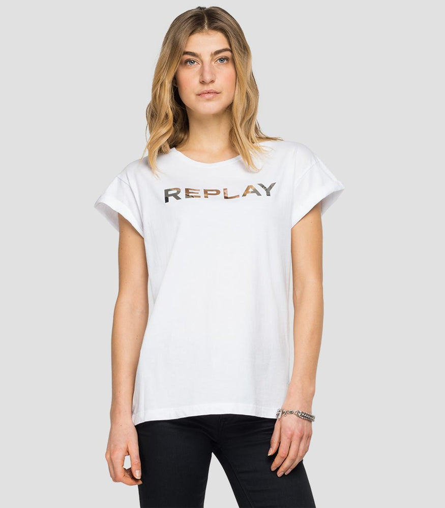 Replay W3525  Crewneck t-shirt with Chrome REPLAY print