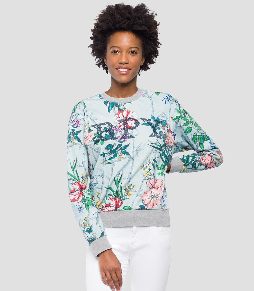 Replay Womens W3971H Sweater With Flowers Print, Coloured Flowers