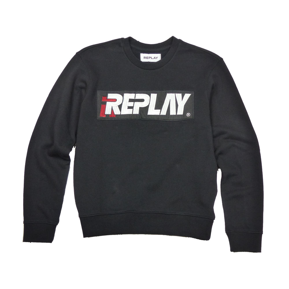 Replay Womens W3971L Embroidered Logo Crew Neck Sweatshirt, Black