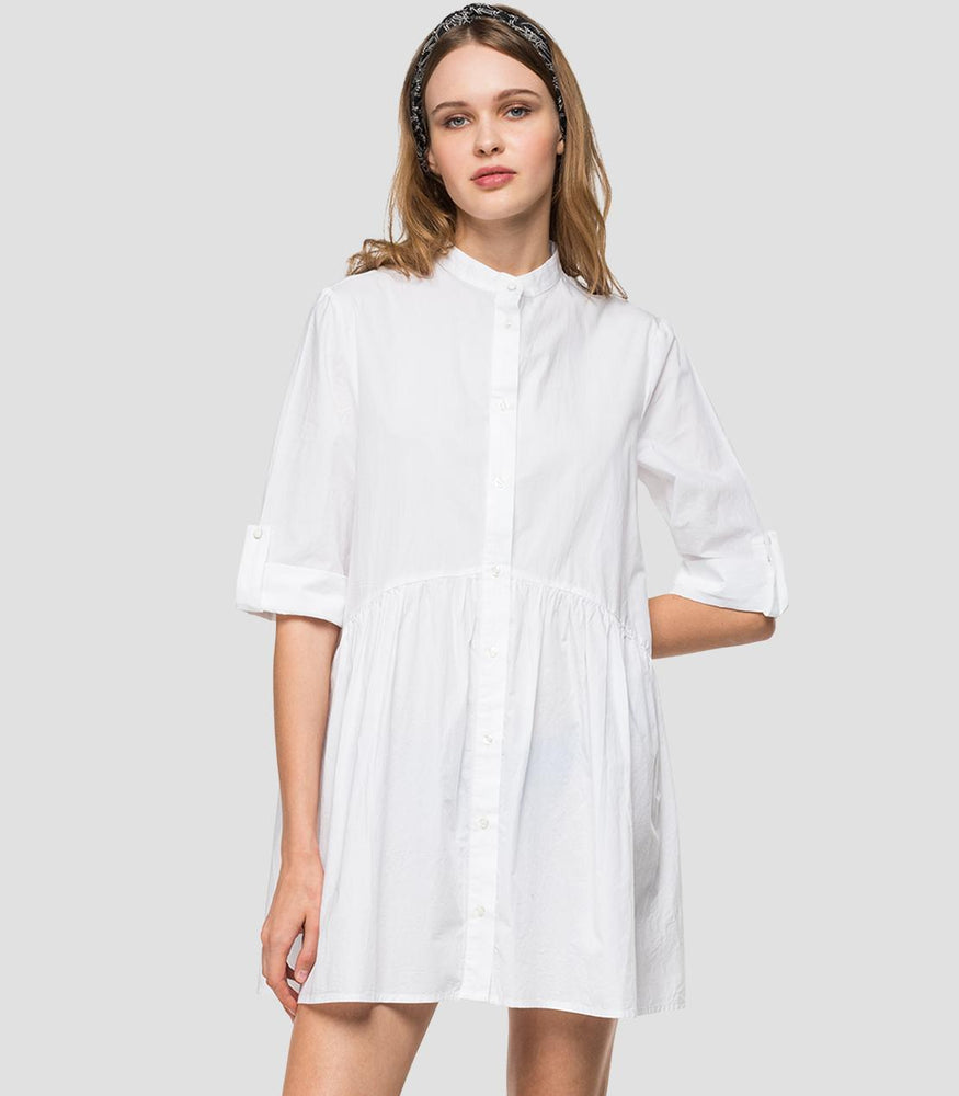 Replay Womens W9562 Poplin Cotton Shirt Dress with Mandarin Collar