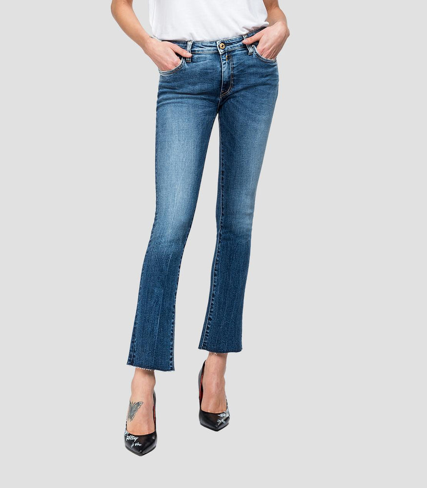 Replay Womens Dominiqli Cropped Boot Fit Jeans, WA646F.000.205.583.009, Comfort Blue Denim