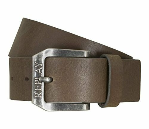 Replay AM2417 Leather Belt with  Embossed Logo Buckle