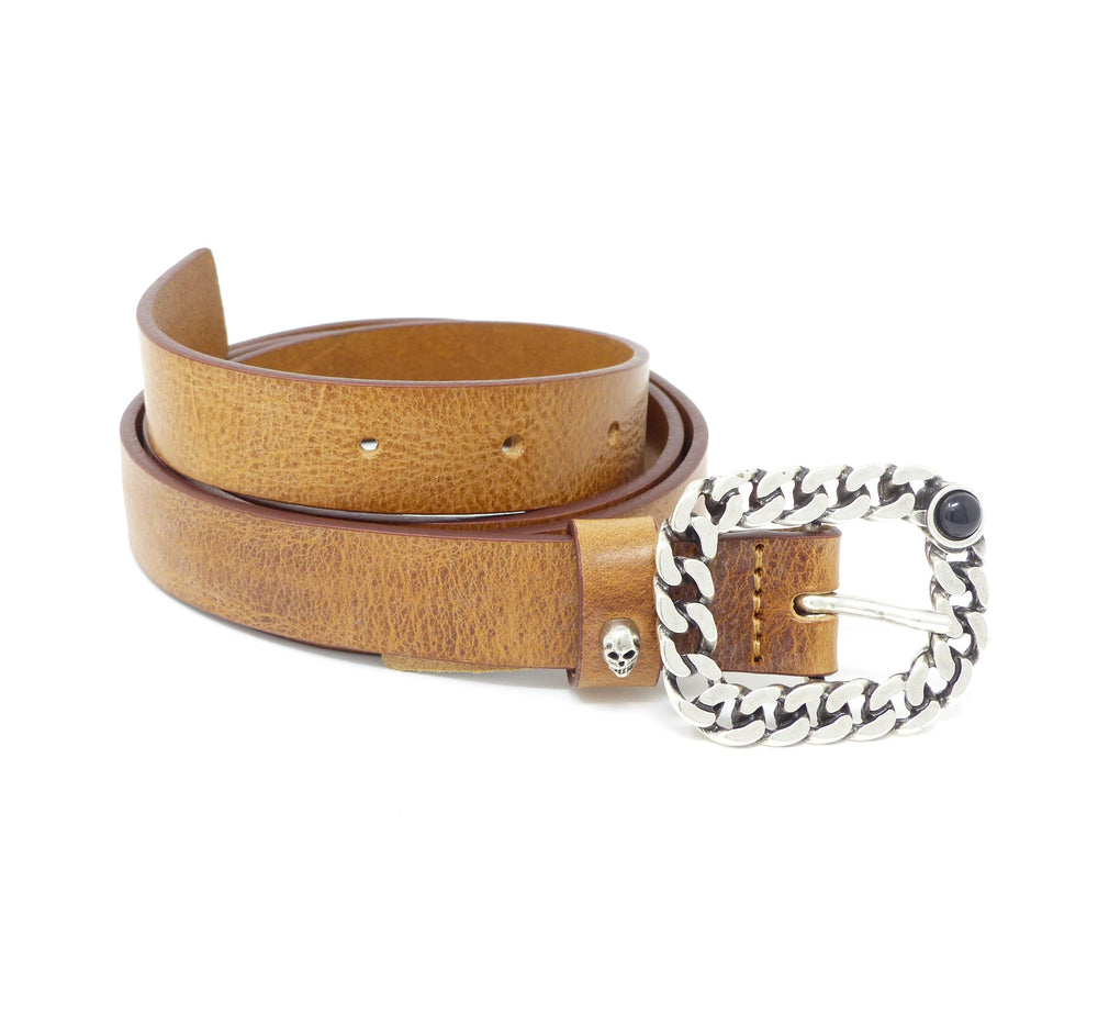 Replay Womens AW2472 Tan Leather Belt with Chain & Scull Detailing