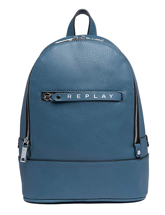 Replay FW3837 City Double Compartment Backpack With Logoed Zipper Puller, Blue