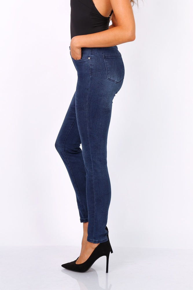 Toxik3 G0323 High Waist Skinny Jeans, Blue All Over Pattern