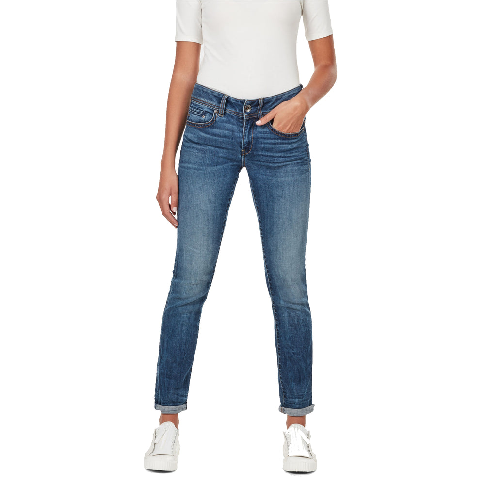 Load image into Gallery viewer, G-Star Raw Womens Midge Mid Straight Jeans, Elto Superstretch, Medium Indigo Aged