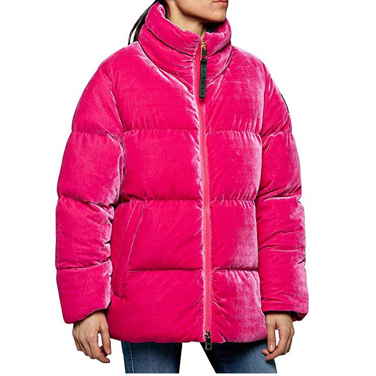 Replay Womens W7495 Oversized Velvet Puffer Jacket, Fuchsia Pink
