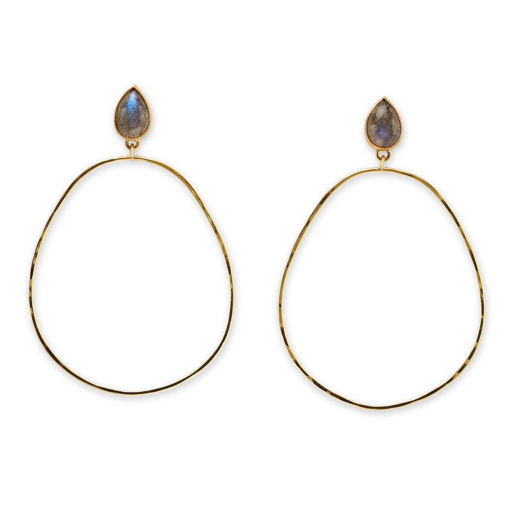 Hammered Labradorite Hoops