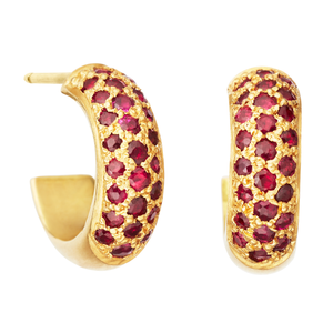 Half Round Hoops with Rubies