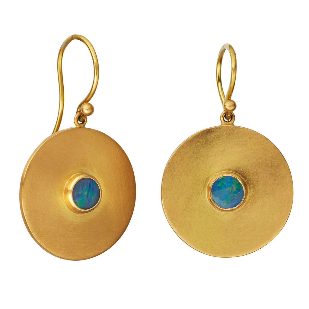 Large Disc Earrings with Opals
