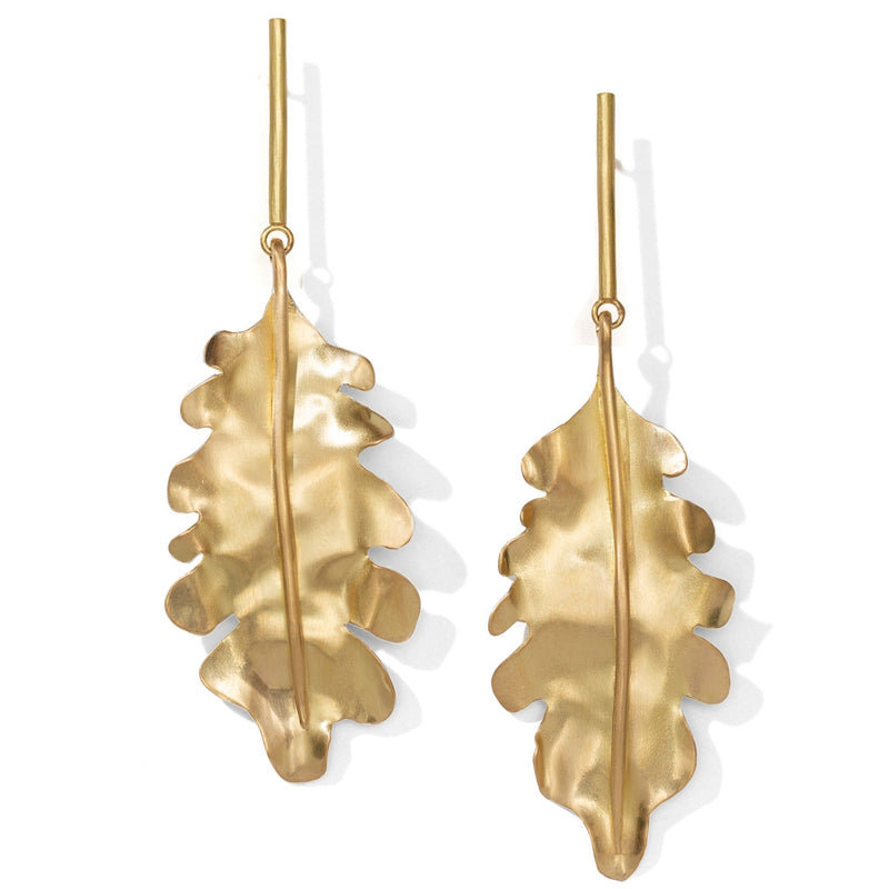 Long Oak Leaf Earrings