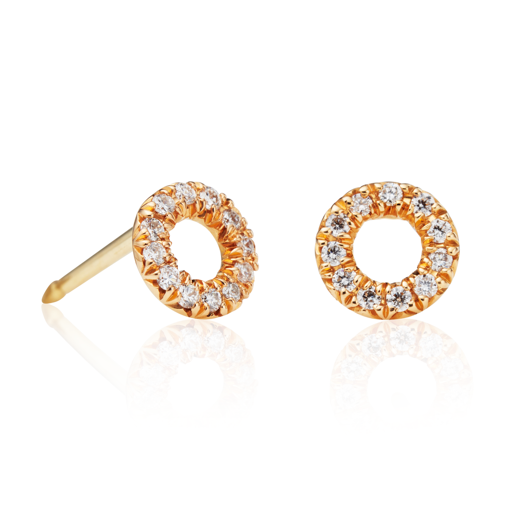 22K Apricot Gold Circle Stud Earrings