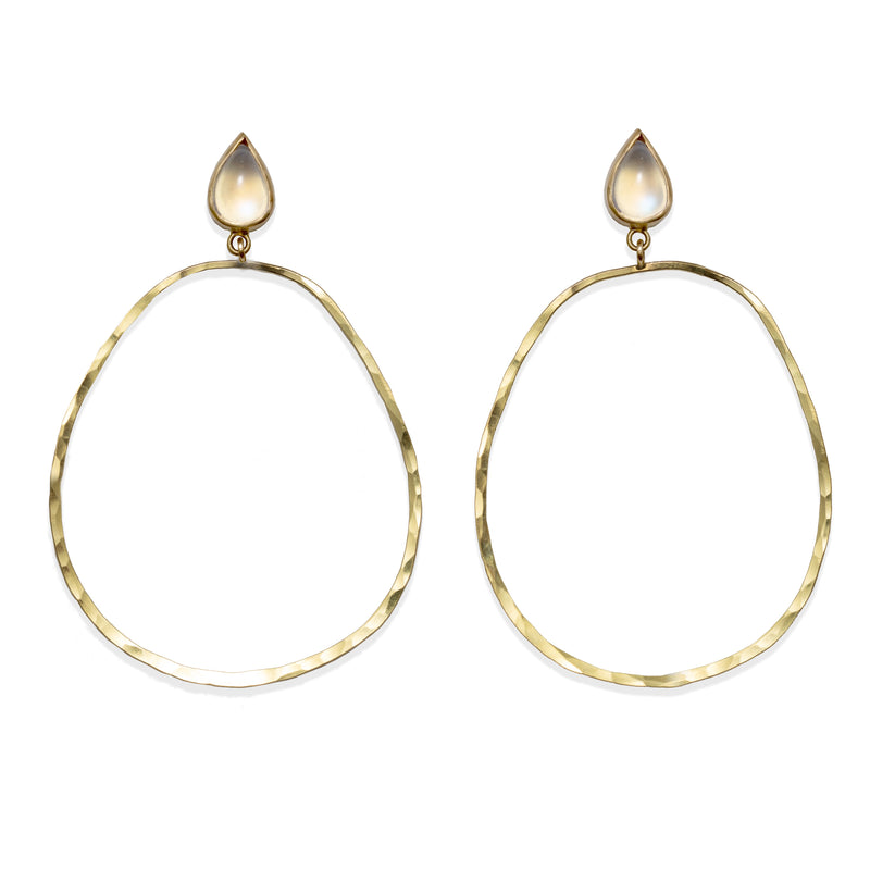 Hammered Rainbow Moonstone Hoops