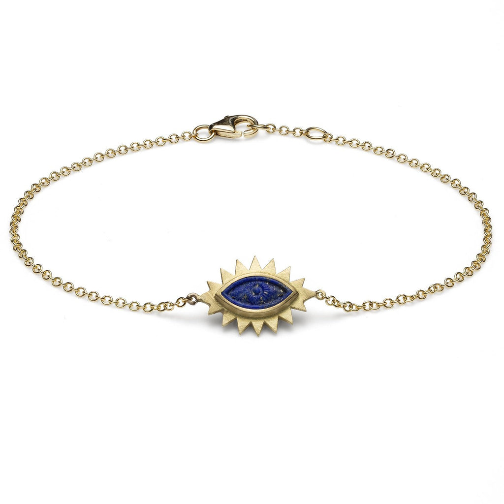 18K Gold Greek Eye Carved Bracelet Lapis