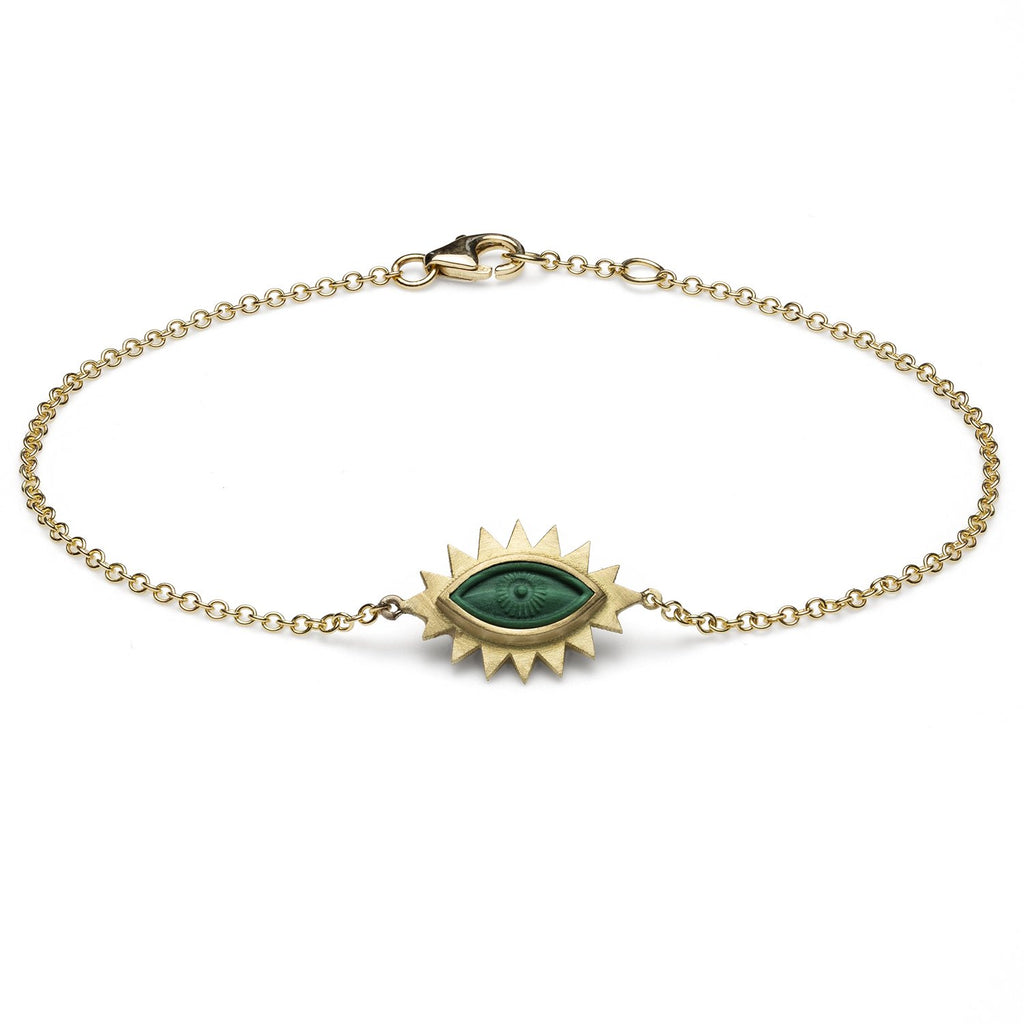 18K Gold Greek Eye Carved Bracelet Malachite