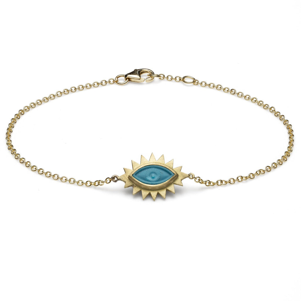 18K Gold Greek Eye Carved Bracelet Turquoise