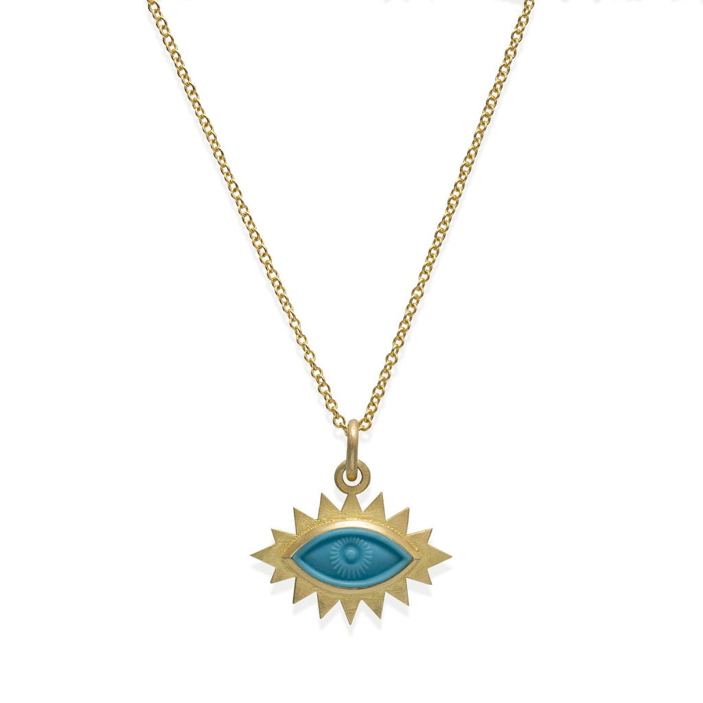 18k Gold Greek Eye Carved Necklace Turquoise