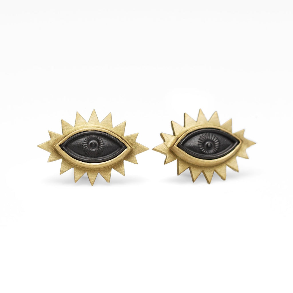 Hematite Greek Eye Carved Studs