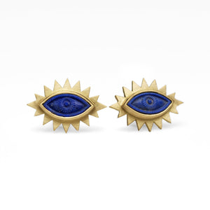 Lapis Greek Eye Carved Studs
