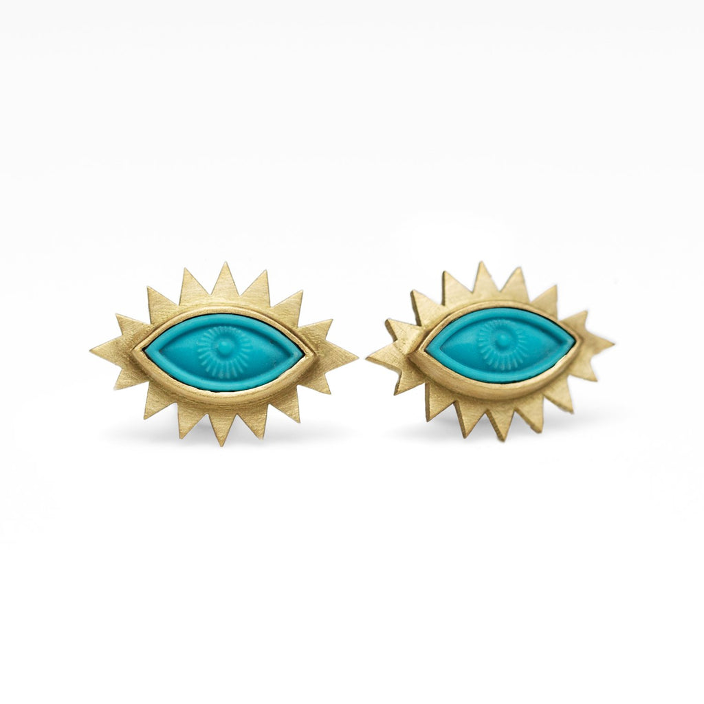 Turquoise Greek Eye Carved Studs