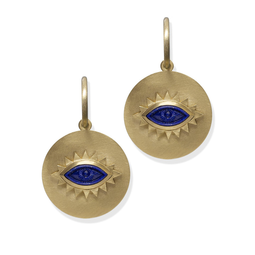 Lapis Greek Eye Disc Earrings