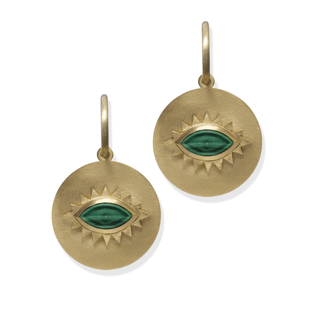 Malachite Greek Eye Disc Earrings
