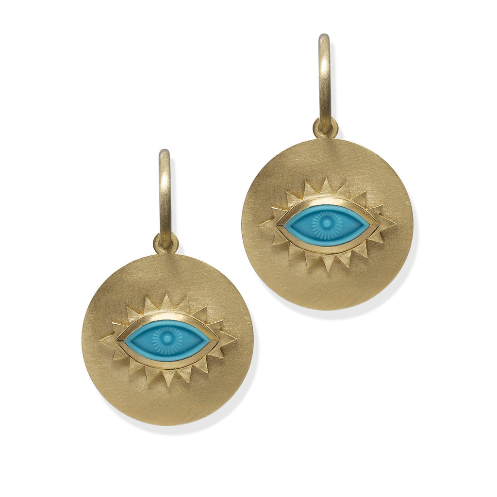 Turquoise Greek Eye Disc Earrings