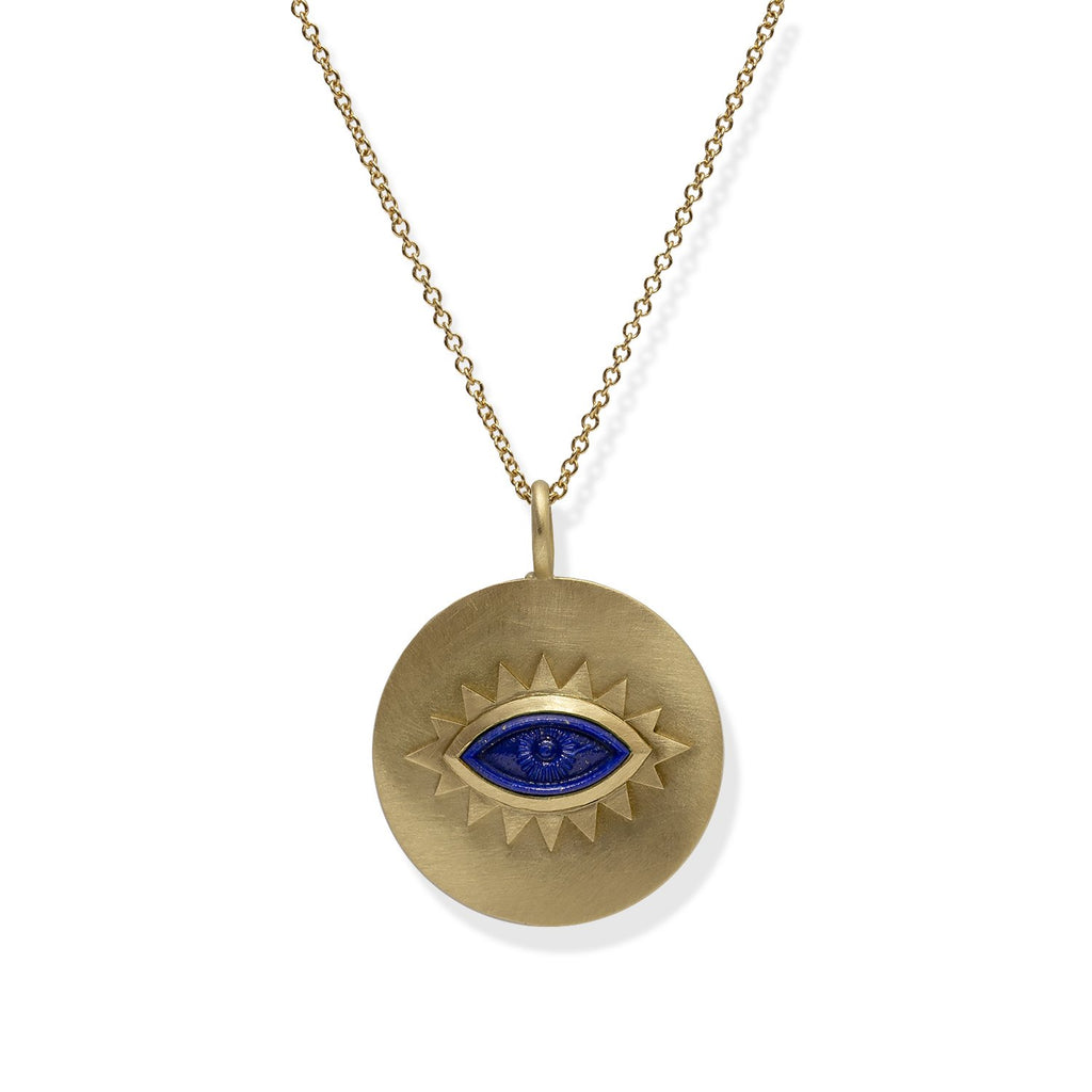 18K Gold Greek Eye Disc Pendant Lapis