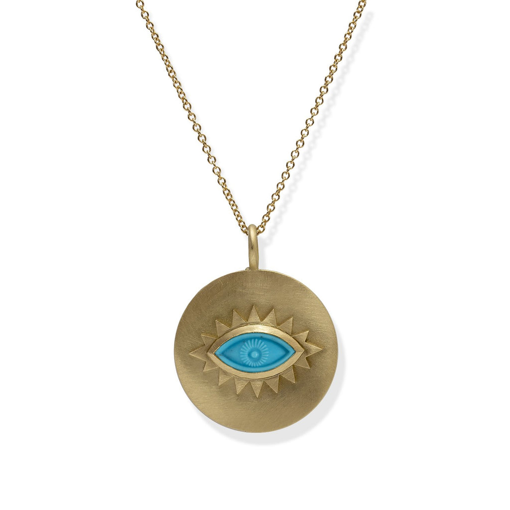 18K Gold Greek Eye Disc Pendant Turquoise