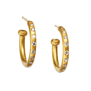 22K Yellow Gold Diamond Regular Hoops