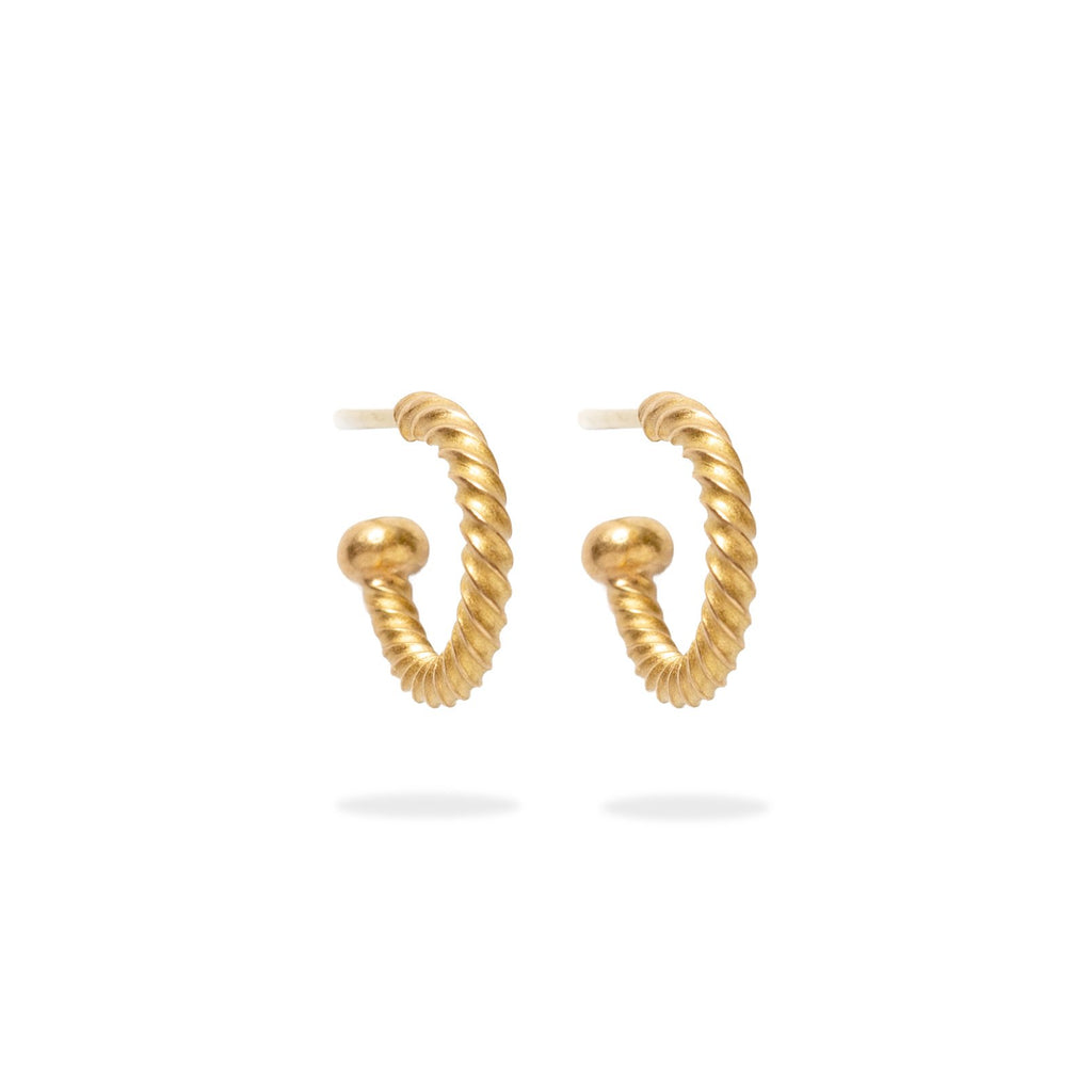 22K Apricot Gold Twisted Baby Hoops