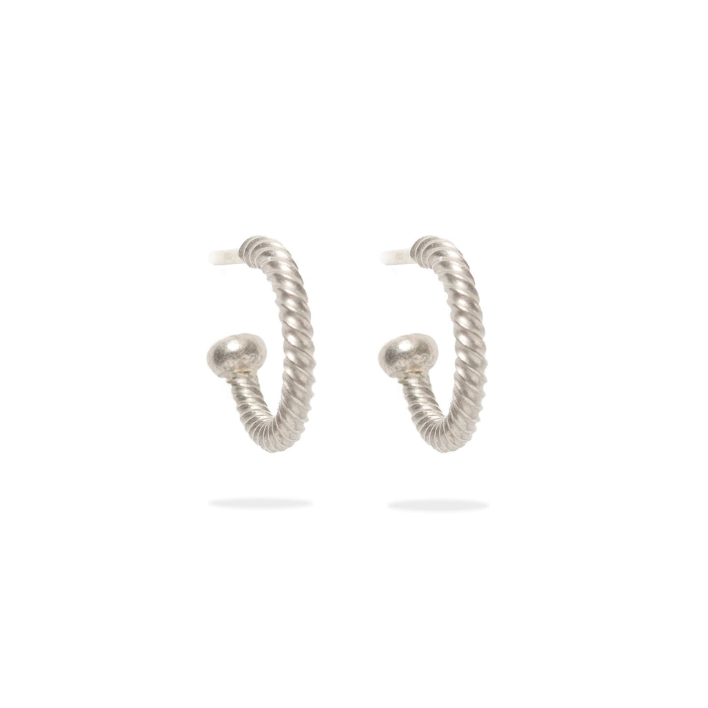18K White Gold Twisted Baby Hoops