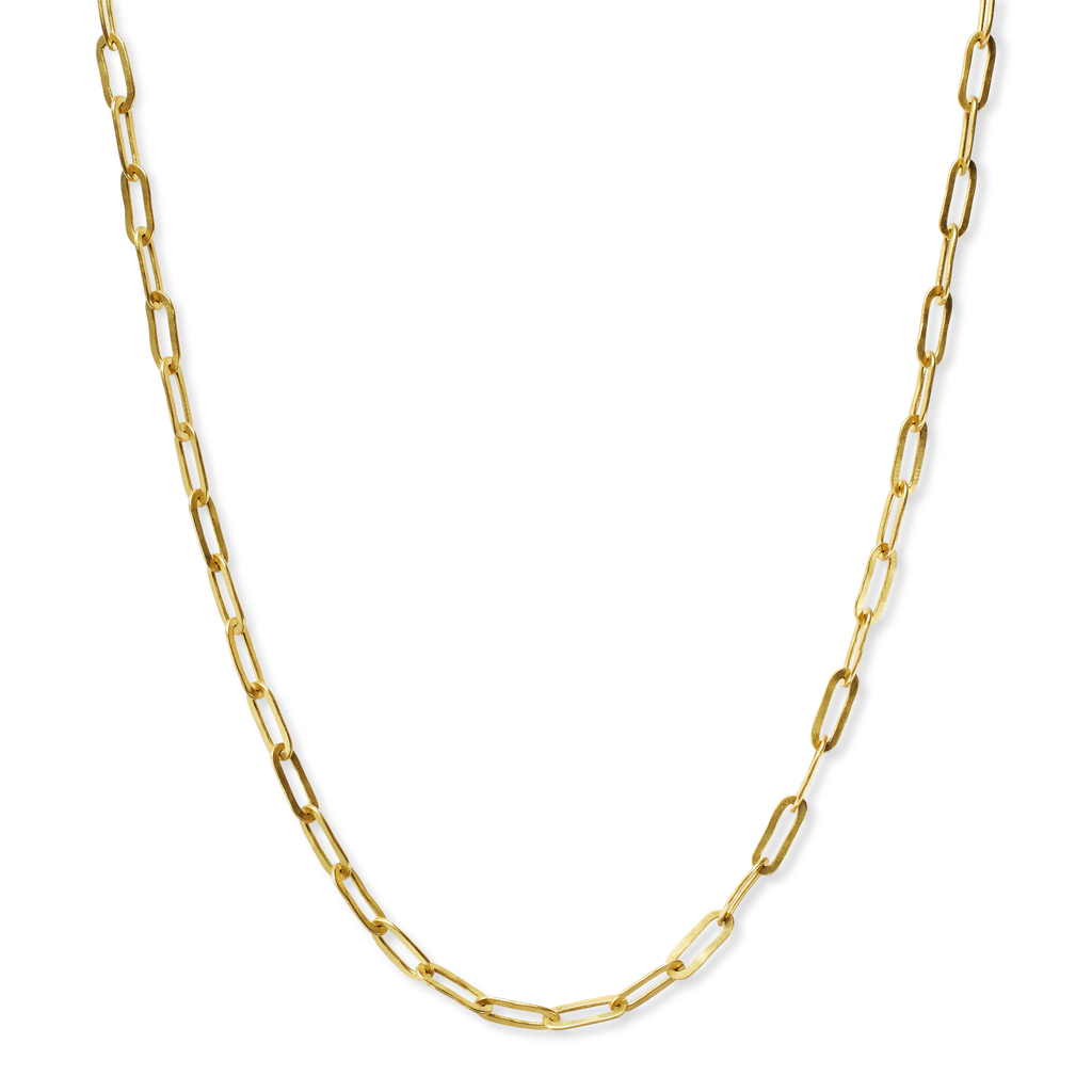 20k Peach Gold Rectangular Link Chain Necklace 20""