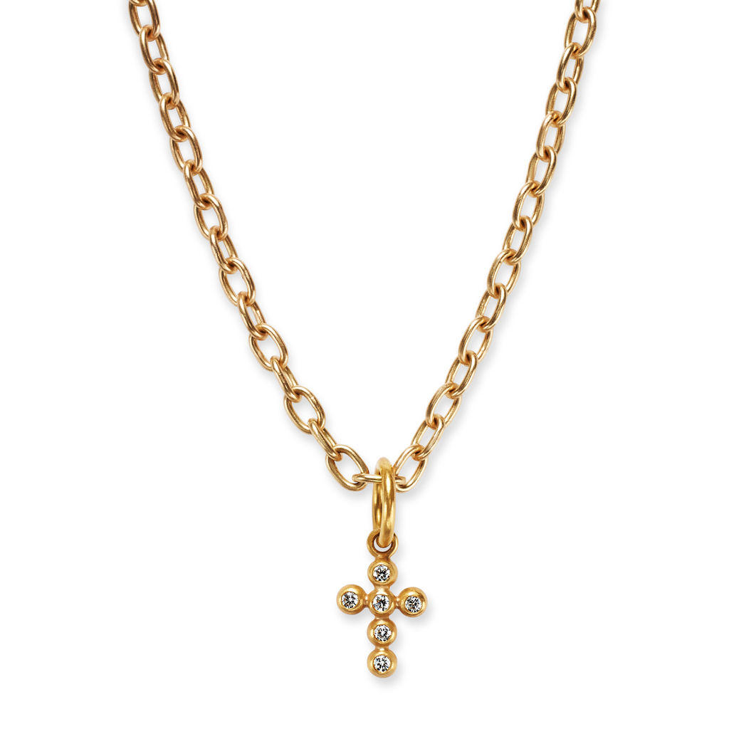 Tiny Cross Pendant with Diamonds