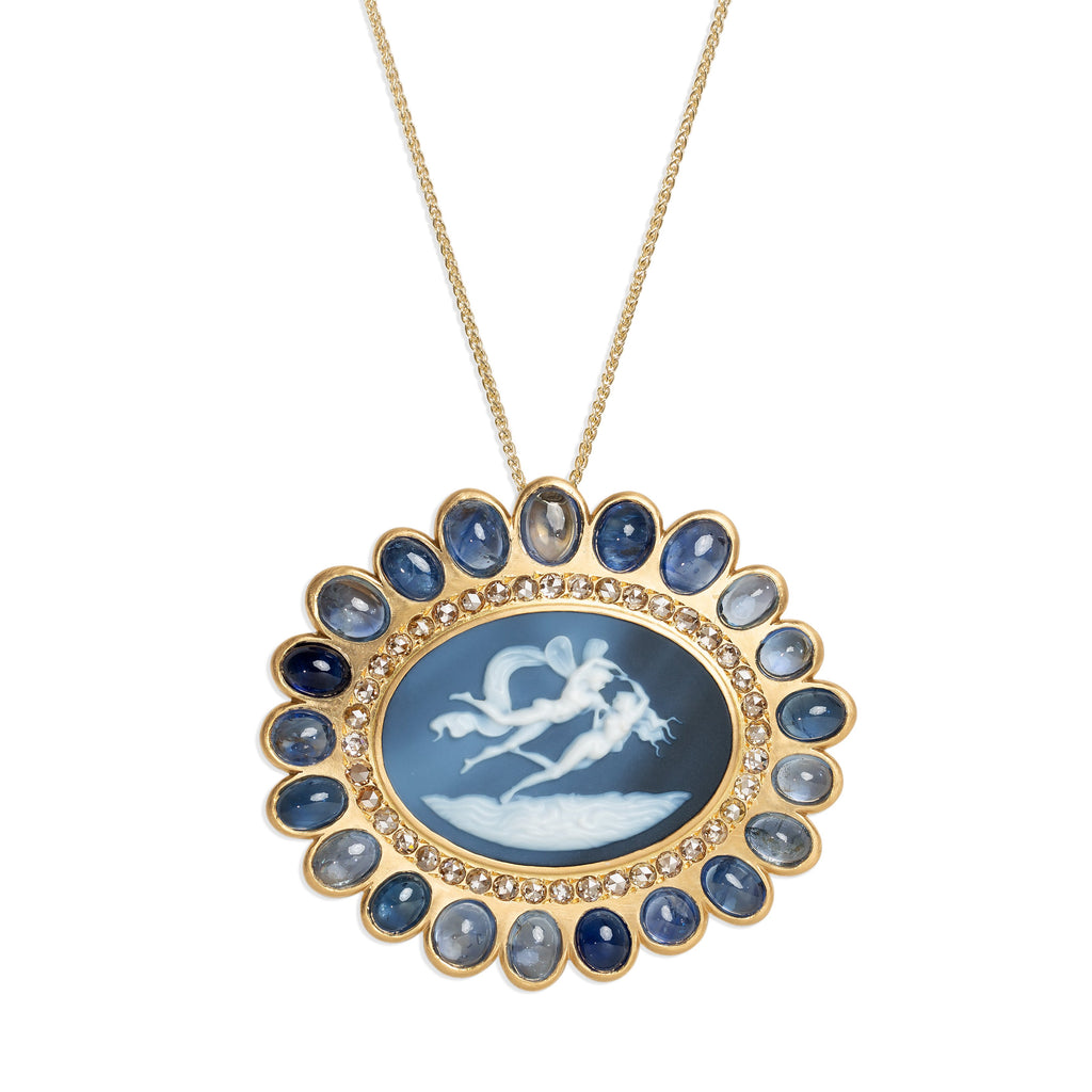 The Love Cameo - Eros & Psych Carved Convertible Pendant/Brooch