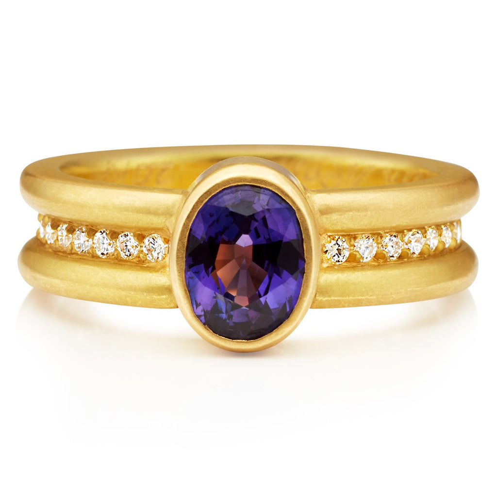 20K Peach Gold Shimmer Mini Ring with Purple Sapphire