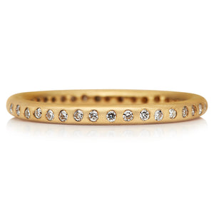 20K Peach Gold Hoopstock Band with Diamonds