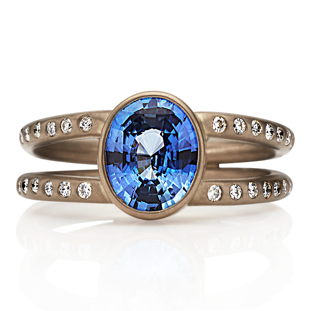 18K White Gold Lightdance Ring with Blue Sapphire